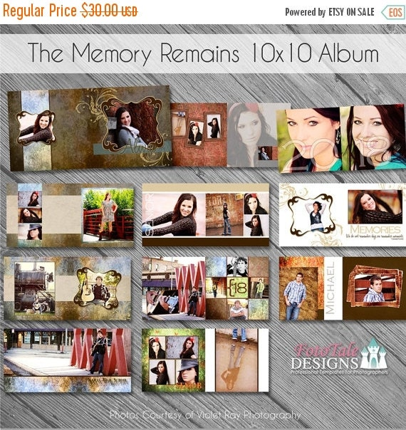 SALE The Memory Remains 10x10 Senior Photo Album- custom photo templates for photographers on WHCC, Miller's Lab and ProDigitalPhotos Specs
