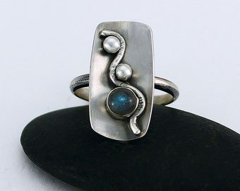 "Size 8.5 Ring Handcrafted Sterling Silver and Labradorite Statement Ring ""Lazy River"" Contemporary One of a Kind Artisan Design 105633703414"