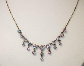 Vintage iris glass necklace. Rainbow rhinestone necklace