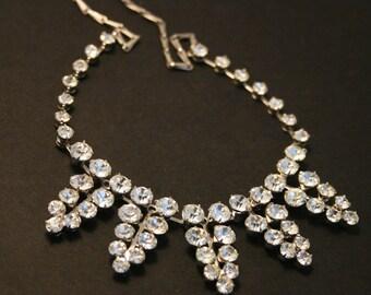 Vintage diamante necklace. Rhinestone necklace.  Clear crystal necklace. Vintage bridal necklace. Something old