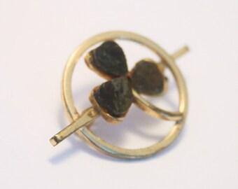 Vintage Connemara marble brooch.  Shamrock brooch