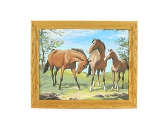 vintage large framed horses paint by number