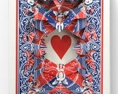 Lonely Heart No.1316 / altered playing card deck / paper sculpture