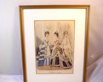 Antique Victorian French Fashion Plate Engraving Print Paris Fashions Hoop Skirts Gilt Wood Frame 1874 Le Monde Elegant Hand Colored Print