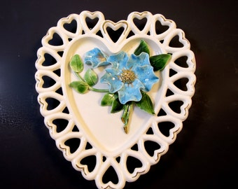 Vintage Hearts Plate Applied Blue Poppy Flower and Leaves Gilt Accents 1950's Porcelain Flower Wall Plate Cottage Cuteness