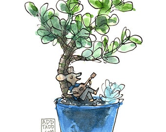 Succulent Plant Art -- Digital Watercolor Art Print --Gift for Musician -- Mouse Guitar Music Cute Art -- Gardening Art -- Bonsai Tree Art
