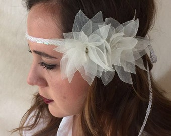 Hand made Lotus Flowers Bridal Headband / Hair Piece