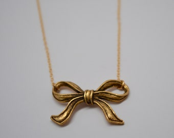 Bow Necklace, Gold Bow Necklace, Antique Brass Bow Necklace, Audrey