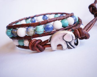 Elephant Bracelet Mykonos Blue Gemstone Jewelry Leather Wrap Bracelet