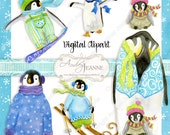 Christmas Penguin Clipart Clip Art Digital Download E15-23A snowboarding ski skiing baby daddy penguin snow winter snowflakes falling snow