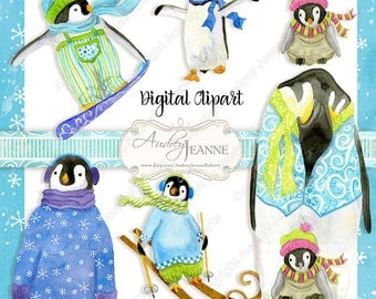 Winter Penguin Clipart Clip Art Digital Download E15-23A snowboarding ski skiing baby daddy penguin snow Christmas snowflakes falling snow