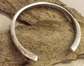 Personalized Hand Stamped Polished Urn Cuff Bangle / Forever In My Heart Memorial Jewelry / I Carry You With Me Cremation Bracelet