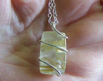 Gold Rutilated Quartz Polished Crystal Pendant