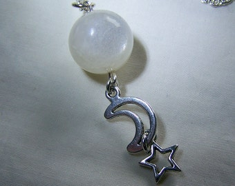 Celestial Rainbow Moonstone Crystal Ball Necklace