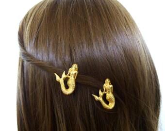 Beach Wedding Accessories Bridal Hair Clips Bridesmaid Barrette Destination Bride Nautical Ocean Sea Beachy Fantasy Gold Womens Gift For Her