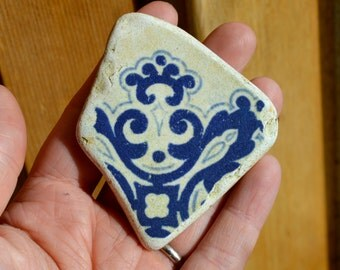 BLUE VICTORIAN TILE  - Unusual Sea Worn Pottery - Jewelry Supplies (4310)