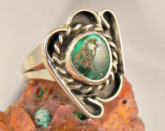 Green Turquoise Sterling  Ring