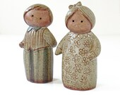 Vintage Stoneware Salt and Pepper Shakers