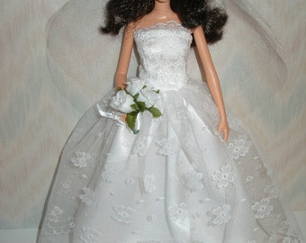 """Handmade 11.5"""" fashion doll clothes - white satin and lace wedding gown"""