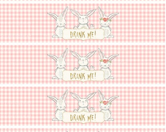 Water Bottle Labels | Bunny Drink Me | Girl Birthday Party Decor | Printable  | Digital 1507