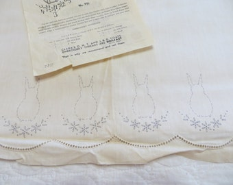 Vintage Baby Crib Sheet with Bunnies-Old Stock