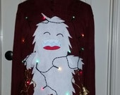 3-D, Ugly Tacky Christmas Sweater, Abominable Snowman, Bumble, Sweater Party, Christmas lights, Mens, Womens, Unisex, Ready to Ship