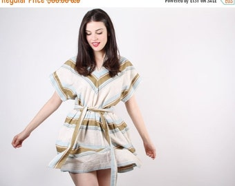 SALE 65% OFF ends 02/16 70s Pastel Chevron Dress - Short Pastel Dress - The Running in the Sand Dress  - 5072