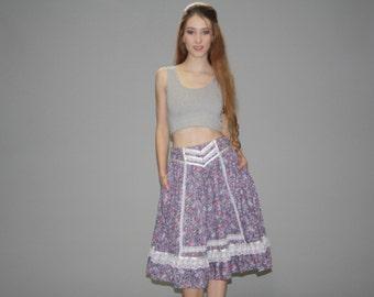 Gunne Sax Vintage 1970s Skirt - 70s Floral Skirt - 1970s Prairie Skirt  - Vintage Gunne Sax - WB0371