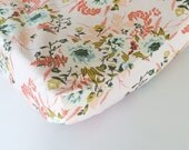 Pink Floral Baby Bedding - Fitted Crib Sheets / Floral Baby Bedding Vintage Rose / Mini Crib Sheets / Contoured Changing Pad Cover /