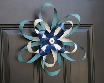 Door flower - wreath alternative, made from recycled metal window blinds