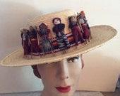 Vintage 1980s Hat Straw Sun Hat Fabric Mini Doll People