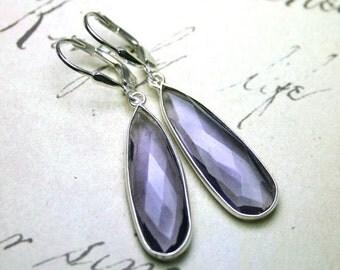 ON SALE Purple Amethyst Earrings - Genuine Amethyst Gemstone Teardrops and Sterling Silver - Sterling Silver Leverbacks