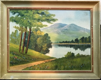 Vintage OIL PAINTING LANDSCAPE - Serene Lake and Mountains Plein Air - Maine Oil on Board - Estate Find Artist Signed 1944