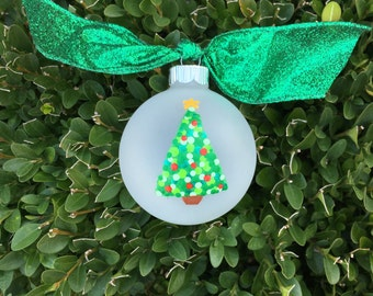 Hand Painted Ornament, Christmas Tree - Personalized Bauble, Christmas Wedding Favor, Christmas Birthday, First Christmas Ornament