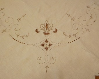 Antique Square Linen Tablecloth With Elaborate Embroidery And Cut Work
