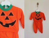 reserved /// vintage baby's halloween outfit - JACK-O-LANTERN sweatshirt + pant set / 0-6M