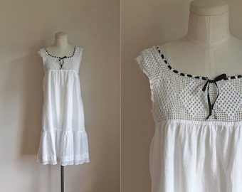 edwardian crochet dress - DIAMOND PEAK antique cotton chemise dress / XS-S