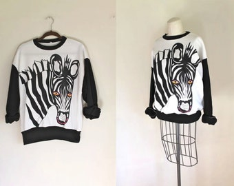 vintage novelty pullover - ZEBRA graphic sweatshirt / L-XL