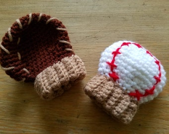 Crochet Baseball & Glove Mittens Mitts Photo Prop Newborn Infant Baby ADD PERSONALIZED INITIALS Unique Baby Shower Gift for Baseball Fan