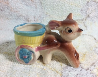 Cute little Ceramic Deer with Wagon Toothpick holder Mini Planter