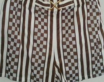 60s JANTZEN--Mens Swim Trunks and Shirt Set--Bathingsuit Set--Shorts and Shirt--Printed Nylon--Size L