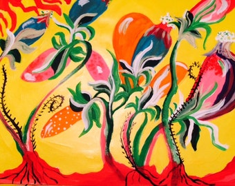 WEEDS OF LIFE yellow original painting by nita