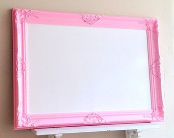 Framed Whiteboard Dry Erase Board Pink Magnetic Bulletin Board Girls Room 26x36 Wall Decor Desk Organizer Unique Teenager Gift Memo Board