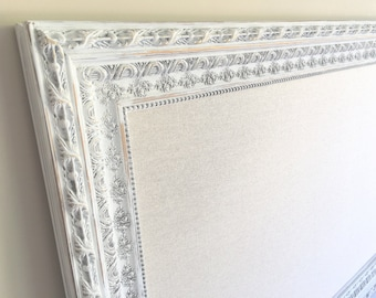 Shabby Chic Nursery LARGE BULLETIN BOARD Linen Farmhouse Nursery Decor White Fabric Dresser Large Framed Art Memory Board Tack Board Girls