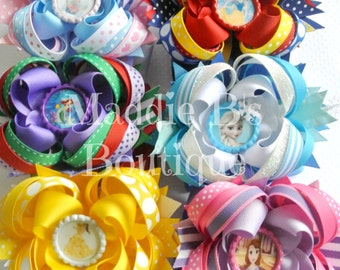 Disney Hair Bow 6 Pack-Princess Elsa Sophia character hair bows-made by Maddie B's Boutique on Etsy