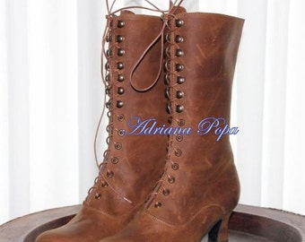 New Brown Victorian shoes Steampunk boots High Heel Lace up Boots Brown Leather Ankle boots Handcrafted shoes