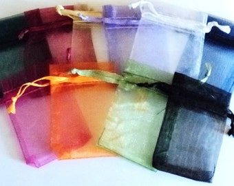 Mini Organza Bags, Assorted Colors, Jewelry Bags, Gift Bags, Jewelry Supplies, Destash Supplies, Wedding Supplies - Set of 12