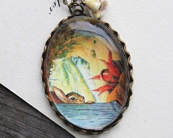 Appley Dapplys Nursery Rhymes Necklace (beatrix potter. magnifying pendant. art book illustration. fairytale jewelry. whimsical jewellery)