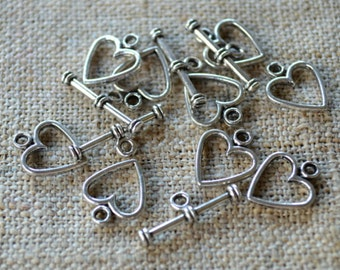 20pcs Clasp Antiqued Silver Pewter Toggle 12x12mm Heart Bar And Ring