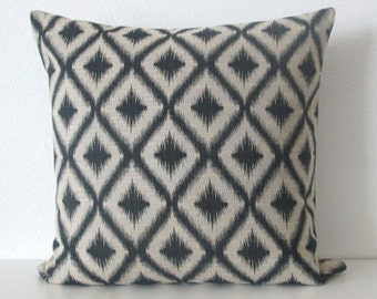 Ikat Fret Woven Charcoal black decorative pillow cover